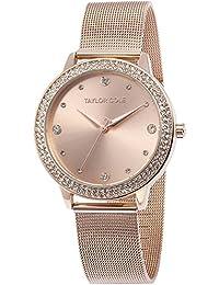 Taylor Cole Damen Armbanduhr XL Quarzuhr Roségold Edelstahl Milanaiseband TC071