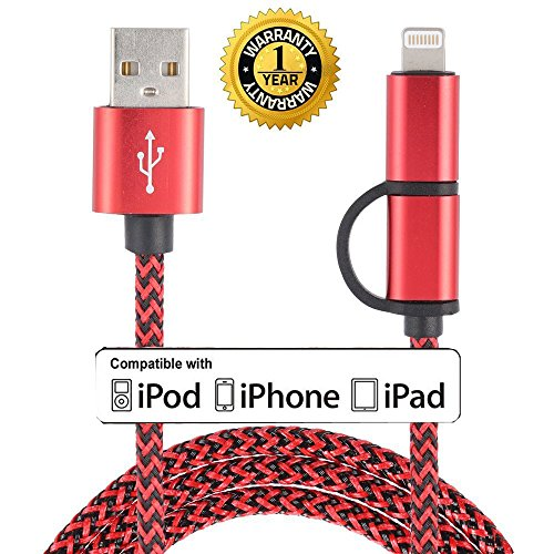 Roreikes [2-in-1-Kabel] Convenient- Ladekabel für iPhone & Micro-USB-Datenkabel 8 Pin High-Speed-Ladekabel für iPhone und Samsung/HTC/Nexus/LG/Motorola/Sony/Blackberry/Android Smartphones , iPad & Android-Tablet - (USB-2-in1-Rot)