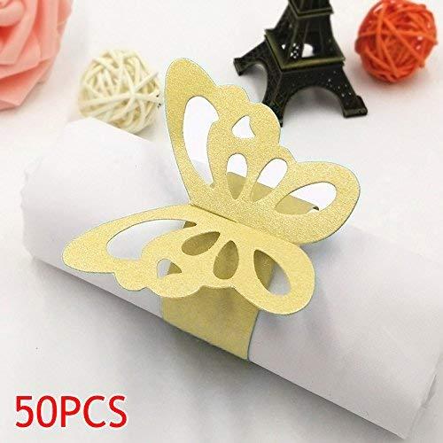 Schön Schmetterling Papier Servietten Ringe Vorräte für Hochzeit Party Dekoration - Grün, Large ()