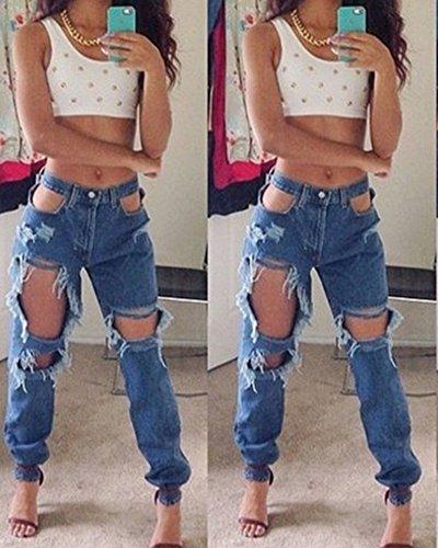 Femmes Skinny Denim Jeans Déchirés Pantalon Jeggings Collants Pantalons Crayon Bleu