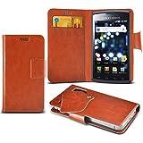 (Brown) Samsung I9070 Galaxy S Advance Caso fino estupendo Faux Leather succión Pad Monedero piel de la cubierta con el crédito / débito ranuras para tarjetasBy Fone-Case