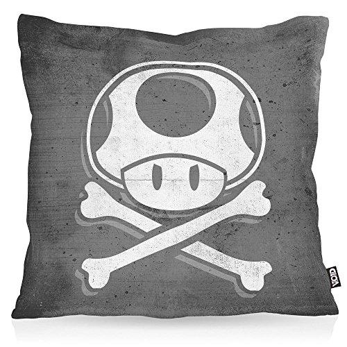 VOID Toad Skull Kissenbezug Kissenhülle Outdoor Indoor Mario Totenkopf Videospiel Konsole super World, Kissen Größe:40 x 40 cm