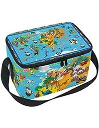 Bolsa de almuerzo con diseño de mapa del mundo con animales para niños para picnic correa