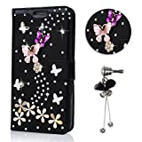 Cover Samsung S7 edge, Sunroyal Custodia per Samsung Galaxy S7 edge G935F 5.5' Bling Diamante Rhinestone 3D Farfalle e Fiori DIY Ultra Sottile Flip Folio Nero Pelle Case Cover in PU pelle Borsa di Silicone [TPU Shock-Absorption] Bumper Ultra Slim Portafoglio Wallet Flip Libro Protezione Chiusura Magnetica Con Anti-Dust Strass Tappi Polvere