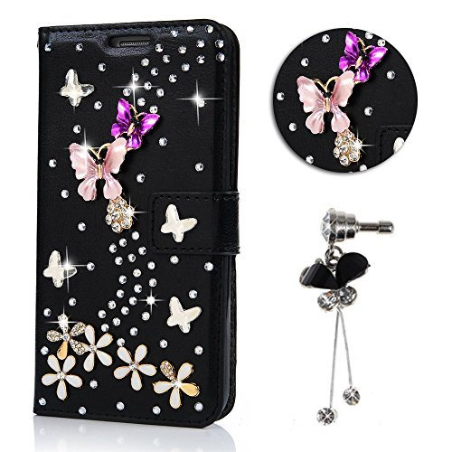 4 Case Lila Iphone Wallet (iPhone 4S Handytasche,iPhone 4 Hülle,Sunroyal Elegant Luxus Noble Schwarz Weiß Lila Rosa Schmetterling Bling Diamant Glitzer Rhinestone Muster Entwurf PU Leder Schutz Handyhülle Strass Klapp Flip Bookstyle Akku Wallet Case Folio PU-lederne Dünn Faux Kunstleder DIAMANT Bling Strass Protektiv Cover Tasche Glitter Kristall Crystal Matt Bunt Hart Haut PC Bumper mit Kartenfach Magnetverschlu und Ständer für iPhone 4S/4)