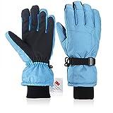 Fazitrip Gants pour écran tactile 3M Thinsulate coupe-vent & imperméable pour femme, pour le ski, le cyclisme, la course ou d'autres sport en hiver (Light Blue, S/M)...