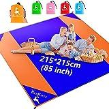 AMZOON 215 x 215 cm XXL Picknickdecke Wasserdicht Stranddecke Decke Für Ausflüge Beach Strandmatte (Blue+Orange)