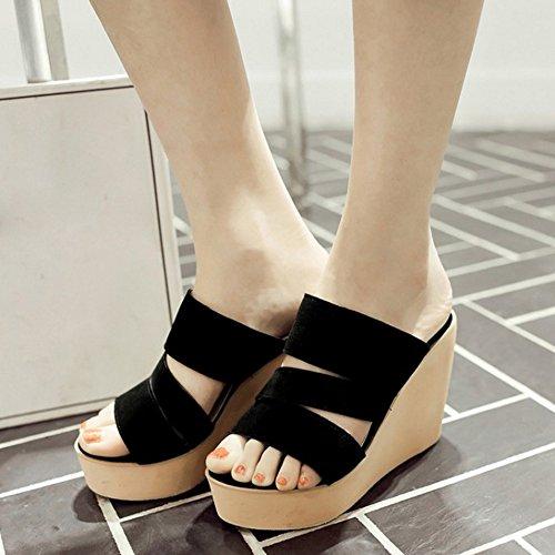 TAOFFEN Femmes Mode Compenses Sandales Talons Hauts Plateforme Bout Ouvert Slide Chaussures Noir
