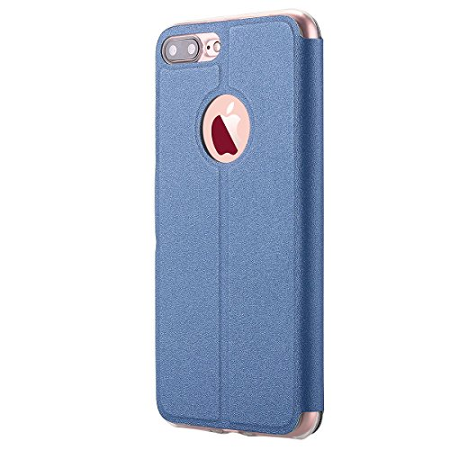 iPhone 7 Plus cellulare, per iPhone 7 Plus Case, lontect alta qualità Case Folio Custodia Cover con standfunction, finestra, è per Apple iPhone 7 Plus Blu reale
