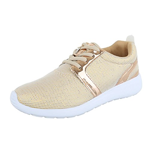 Ital-Design Sportschuhe Damen-Schuhe Geschlossen Sneakers Schnürsenkel Freizeitschuhe Gold, Gr 38, 6230-Y-