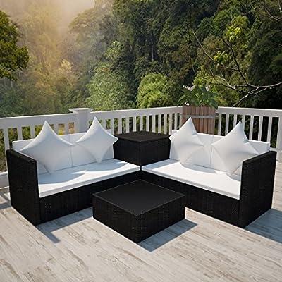 14 Piece Poly Rattan Garden Sofa Set Lounge Sofa Set Black By Festnight