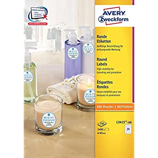 AVERY Zweckform L3415-100 Etiketten (A4, 2.400 Stück, Ø 40 mm, 100 Blatt) weiß
