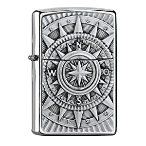 Zippo Boussole Emblem-Chrome Brushed Collection 2018 Briquet tempête Argent 6 x 4 x 2 cm