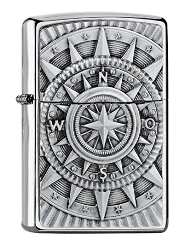 Zippo Kompass Emblem-Chrome Brushed Collection 2018 Sturmfeuerzeug, Silber, 6 x 4 x 2 cm
