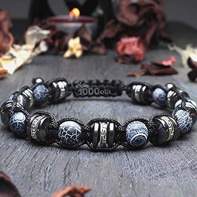 Bracelet Homme Style Shamballa Ø 8mm pierre naturelle Agate Toile d'araignée Hématite perles métal couleur Argent style Tibétain Antique BRADANKI-18