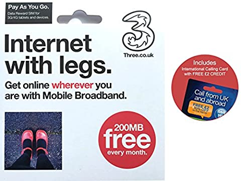 Three UK PAYG Reward Data Trio SIM Card Mobile Broadband – FREE 200MB every month - (RETAIL PACK)