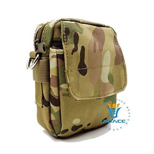 Multifunzione sopravvivenza Gear Pouch Tattico Molle Pouch Borsa Messenger, campeggio borsa a tracolla marsupio Pouch Custodia da viaggio per attrezzi, KH CP