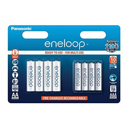 Panasonic eneloop, Ready-to-Use Ni-MH Akku, 8er Kombi-Pack, 4x eneloop AA Mignon (min. 1900 mAh) + 4x eneloop AAA Micro (min. 750 mAh), 2100 Ladezyklen, starke Leistung und geringe Selbstentladung, wiederaufladbare Akku Batterie, Akkubatterie -