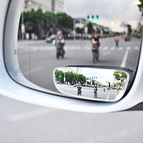 miroire Weitwinkel Auto, Auto toten Winkel Spiegel, Rückspiegel ohne Fleck, 2x Spiegel Rechtsgewinde außen AUX Toten Winkel Blind Spot Mirror für Auto LKW Selbstklebende Square-band