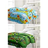 Craftdia Beautiful Reversible Single Bed Set Of 2 Pooh And Ben 10 Combo Ac Blanket/Dohar