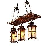 E27 Holz Pendelleuchte Vintage Loft Hängeleuchte Retro Edison Kronleuchter Wohnzimmer Kücheninsel Esszimmer Bar Hängelampe Höhenverstellbar Schwarz Eisen Glas Lampenschirm