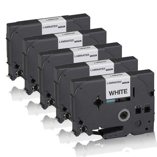 Preisvergleich Produktbild 5x Schriftband kompatibel für Brother Ptouch TZE-221 P-Touch GL 1000 P-Touch GL 200 P-TouchH105 P-TouchH300 P-TouchH300Li P-TouchRL700S W-B B-Wschwarz auf Weiss TZ 221 TZE 221 9mm