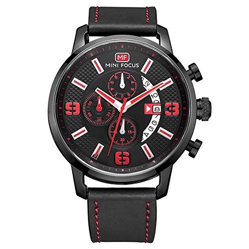 Modiwen Herren-Armbanduhr, Lederarmband, Quarz-Uhrwerk, wasserdicht, Business-Chronograph, analoge Funktion schwarz