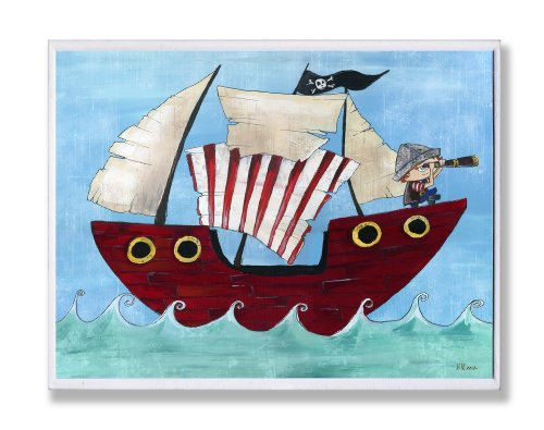 The Kids Room By Stupell Rectangle Wall Decor, Pirate Ship With Stripe Sail Kids Room Decore And Wall Art (Pirate Decor Room)