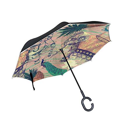 Mnsruu Paraguas de Doble Capa invertido, diseño de Flores de Elefantes Indios...