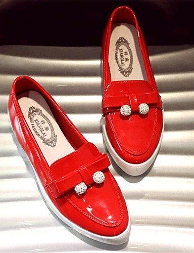 ShangYi gyht Scarpe Donna-Mocassini-Tempo libero / Casual-Comoda-Piatto-Finta pelle-Nero / Rosso / Bianco White