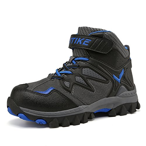 ASHION Wanderschuhe Bergstiefel Bequem Unisex Outdoor Wandern Trekking Jungen Mädchen Damen(Blue EU33) (Winter Neue Stiefel)
