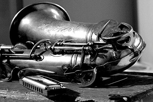Postereck - 0167 - Saxophon, Schwarz Weiß - Poster 90.0 cm x 60.0cm