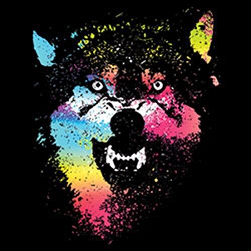 Pop Art ::: Colorful Wolves ::: US LongShirt with Art Style Motive Schwarz