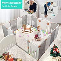 Baby Playpen, Foldable Playpen Baby Panel with Gates Activity Center Safety Play Yard for Babies and Kids - 14+2 Panel HDPE Indoor Outdoor Playards Fence Set