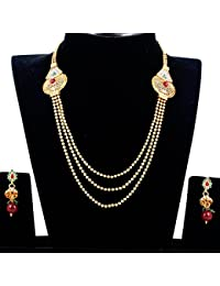 Spargz New Style Gold Plated Brass Metal American Diamond Long Necklace Set For Women
