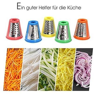 GOPLUS-Gwmseschneider-eletrisch-Gemsehobel-Schnitzelwerk-Elektrisch-Kchenmaschine-Salatzubereiter-Zerkleinerer-Raspelmaschine-150-Watt-5-Reibeeinstze