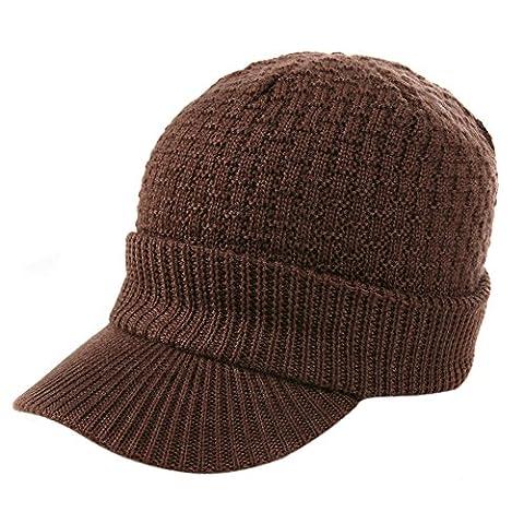 Siggi Visière d'Hiver bonnet pour homme en laine Câble manchette Bonnet pour femme - marron - Large
