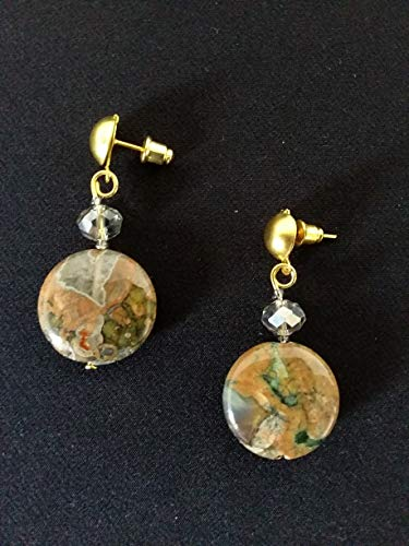ORECCHINI DIASPRO pietre dure- verde, marrone, oro - regalo artigianale
