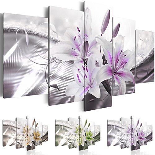 Quadro 100x50 cm - Tre colori da scegliere - Quadro su tela fliselina - 5 Parti - Quadro su tela fliselina - Stampa in qualita fotografica - Fiori Giglio b-A-0329-b-p 100x50 cm B&D XXL