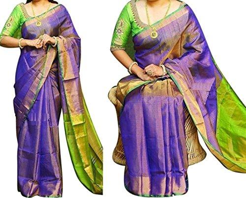 SARASWATHI HANDLOOM Women's Silk Saree With Blouse(Up0006_Purple With Green)
