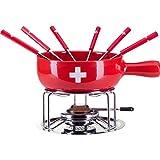 Käsefondue-Set 'CH-Kreuz' von Nouvel Schweiz - 9 Teiliges Set, 6 Personen, Schweiz Design, für einen gemütlichen Fondue-Abend