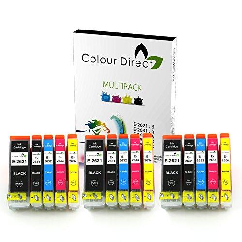 Preisvergleich Produktbild 15 XL Hoher Kapazität Colour Direct kompatibel Druckerpatronen Ersatz für Epson 26XL Expression Premium XP-510 XP-520 XP-600 XP-605 XP-610 XP-615 XP-620 XP-625 XP-700 XP-710 XP-720 XP-800 XP-810 XP-820 Drucker T2621 T2631 T2632 T2633 T2634