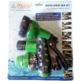 "Mitras Water Spray Gun Set For Car & Bike Cleaning Green 12.5mm (1/2"") With Tap Adapter Having Easy To Use Butterfly Clamp & Bead Chain To Tighten"