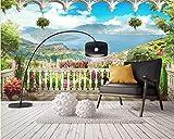 HONGYUANZHANG Beibehang Benutzerdefinierte Tapete Wandbild 3D Stereo European Fenster Balkon Landschaft Wandbild Tv Hintergrund Wand 3D Wallpaper Papier Peint,60cm (H) X 80cm (W)