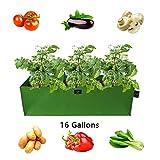 Laxllent Pflanzen Tasche,Pflanzsack für Gemüse,Blumen,Wiederverwendbar Atmungsaktiv,Großes Gemüsebeet,mit Tragegriffen,Luftloche,im Garten,Balkon,Grün,Rchteck,85x35x25cm