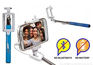 Selfie Stick Monopod With Wired Aux Cable Connectivity Compatible For Alcatel Flash Plus -Cyan