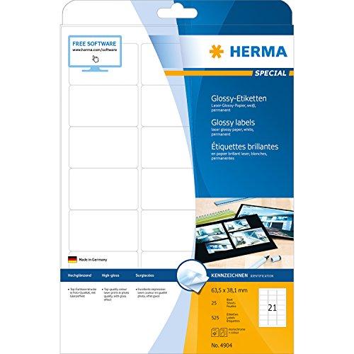 Preisvergleich Produktbild Herma 4904 Universal-Etiketten (A4 Papier glänzend, 63,5 x 38,1 mm) 525 Stück weiß