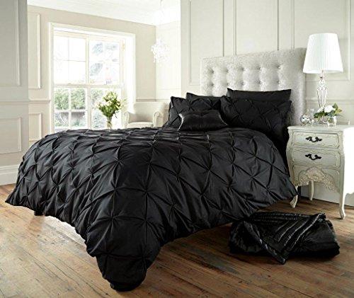 König Bettbezug Bettwäsche-set (Luxus Bettbezug set mit Kissenbezug neue Bettwäsche (Alford Schwarz, König))
