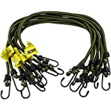 10 pack Heavy Duty Olive Elastic Military Bungee Cords Basha Bivvy Bivi - Olive Green Savage Island Branded