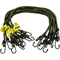 Savage Island 10 pack Heavy Duty Elastic Military Bungee Cords Olive Green